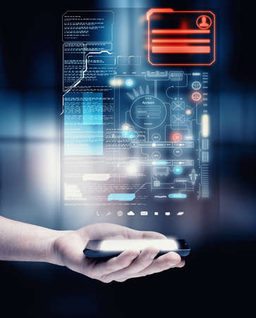 Hand holding a smartphone with a digital screen full of codes and personal data.
