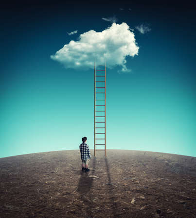 Man in front of a ladder leading to a cloud. The concept achieving goals.