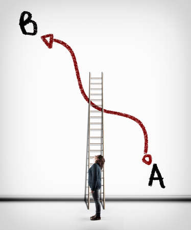 Woman looking to path of point a to point b drawn on a white wall. Shorter ladder between point a and point b. Stock Photo
