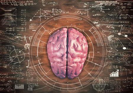 Brain against a wooden table full of math formulas.