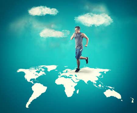 Man running across the world map.