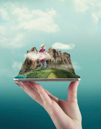 Hand holding a smartphone with a mountain enviroment and a traveller. The concept of booking online for travel.