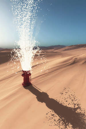 Hydrant in the desert and hydro explosion.