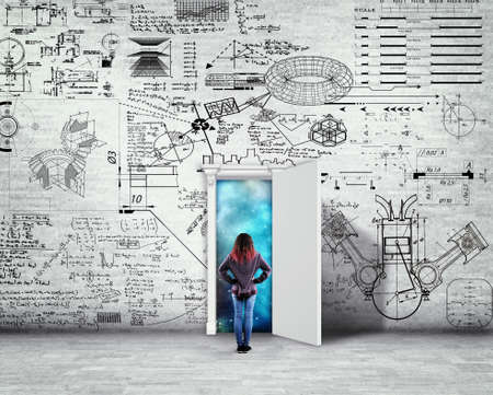 Woman standing in front of a wall drawn with math formlas and problems. Space behind the opened door.