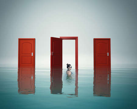 Woman in water in front of different doors. The concept of choosing the right way