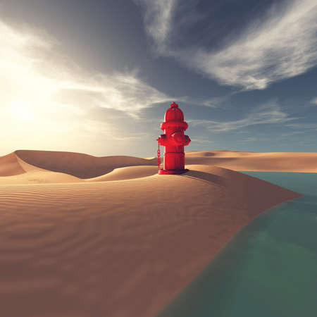 Hydrant in the desert near an oasis.
