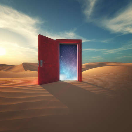 Opened door in the desert to the space. Stockfoto