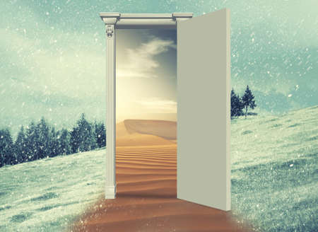 Opened door on a field during winter which leads to a warmer season , to the desert. Changing season through the door concept. Stock Photo