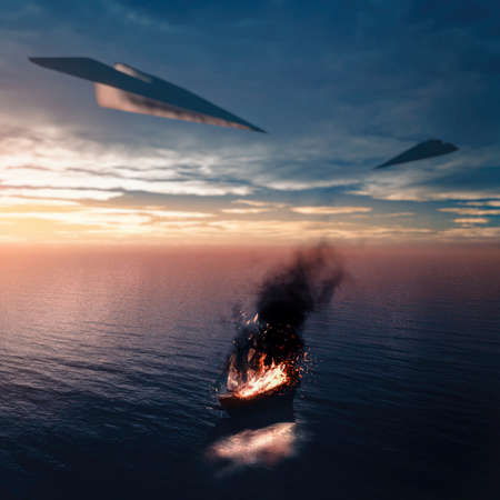 Ship in the ocean on fire. Ship attacked by airplanes of paper . Stock Photo