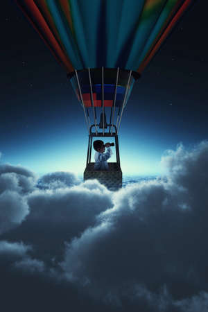 Man looking thorugh binoculars above clouds during night . Flying with a hot air balloon