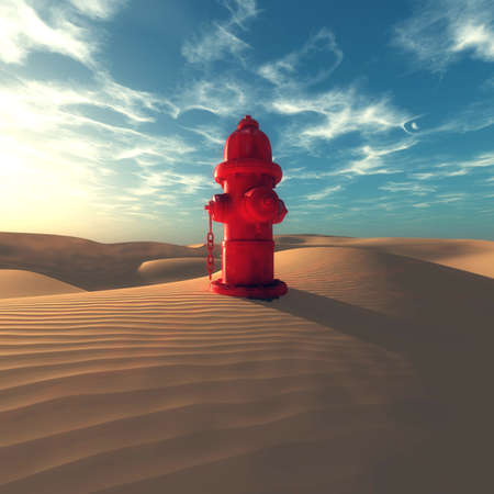 Hydrant in the desert on a sunny day