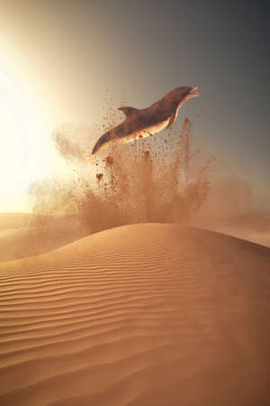 dolphin jumpin in the sand. The concept of global warming effect