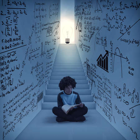 Man reading in a hallway drawn with math formulas and stairs to lightbulb . The concept of creation process.
