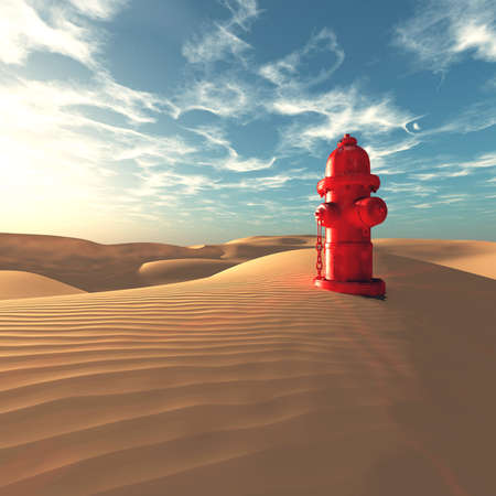 Hydrant in the desert on a sunny day.