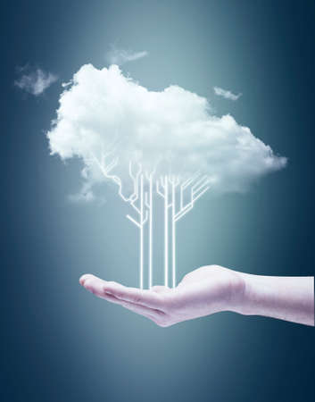 Hand holding a circuit board tree and a cloud .