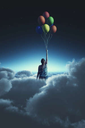 Woman flying with balloons to the sky during night, above clouds