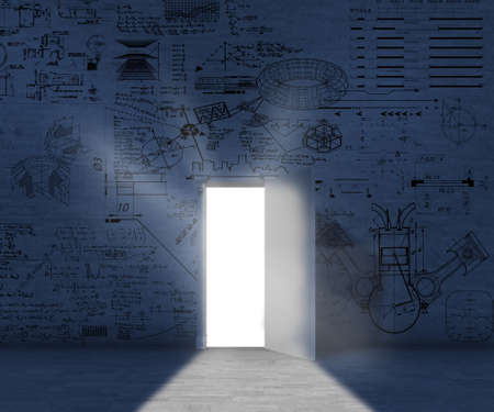 Opened door in a dark room with formulas drawn on wall. Stock Photo