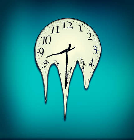 Clock melting on a blue wall. The concept of time passing away.