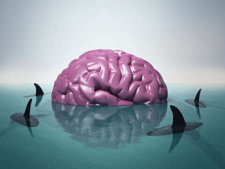 Human brain in water surrounded by sharks.