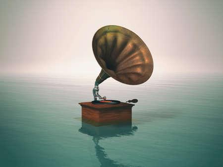 Lecteur de musique de phonographe antique dans l'eau Banque d'images