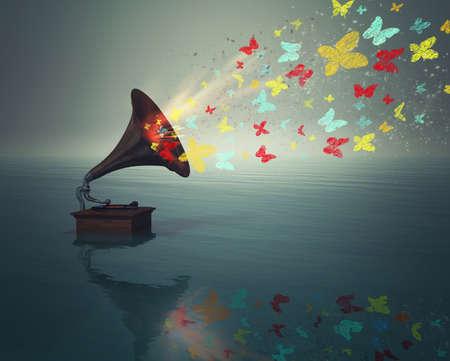 Lecteur de musique de phonographe antique avec des papillons dans l'eau