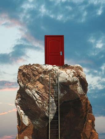 Ladder on a mountain peak leading to a closed door.