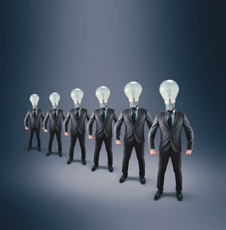 Group of businessman with lightbulbs instead of head.Elite business team .
