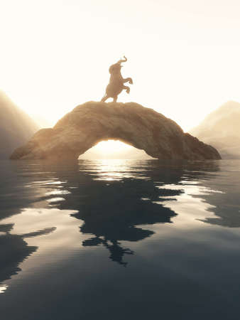 Elephant rising up on a arched rock in the lake at sunset. Banco de Imagens