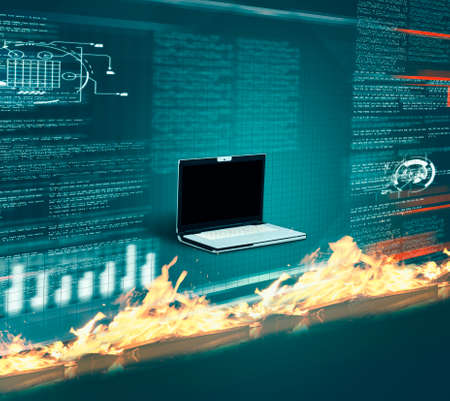 Firewall in front of laptop with data information. Cyber security concept. 版權商用圖片