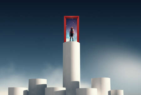 Woman stands on higher column in front of an opened door to space.