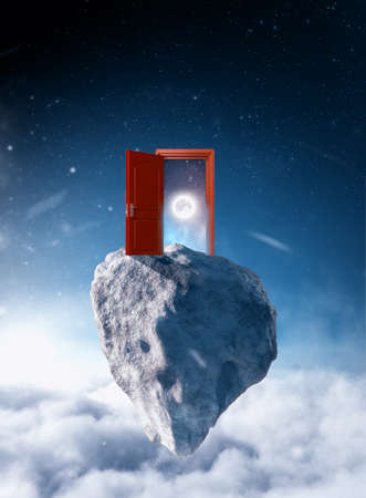 Opened door to moon in the space on a rock floating above clouds. 版權商用圖片