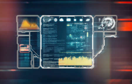 Futuristic cyber technology and information or network protection. 3d render illustration