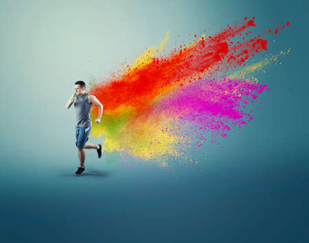 Young man running and a creative concept