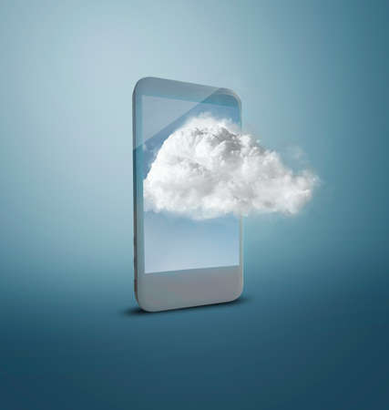 The conceptual image with a phone and cloud. 版權商用圖片