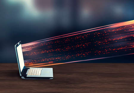 Data transfer data to a laptop. This is a 3d render illustration