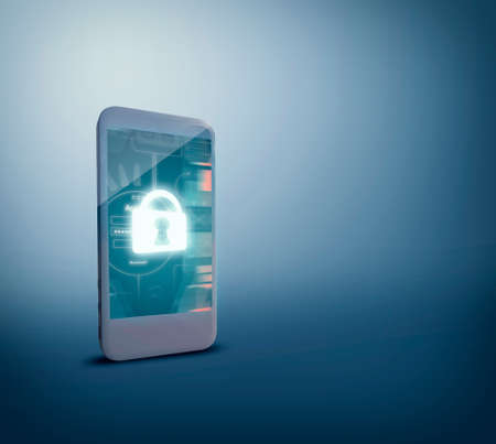 Security for safety from mobile phone. Security concept. 3d render