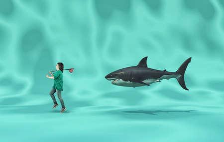 Woman walks with joy followed by a shark. The concept of facing fears. 版權商用圖片