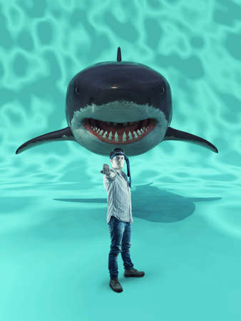 Man in a challenging position with a shark behind.