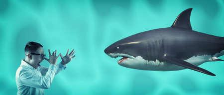 Kid makes fun of a shark