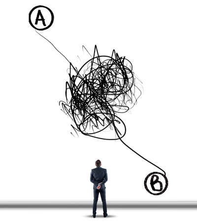 Businessman standing in front of a wall ,drawn with a chaotic path between point a to point b.