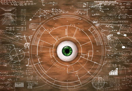Eye on wood drawn with math formulas and information. Visual memory concept. Stock Photo