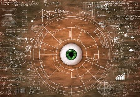 Oeil sur le bois dessiné avec des formules mathématiques et des informations. Concept de mémoire visuelle. Banque d'images