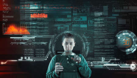 Woman working futuristic user interface . High tech screens data and information .