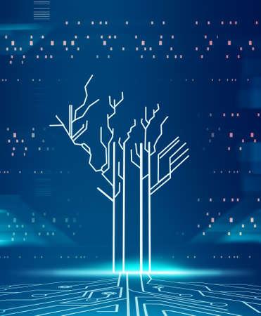 Futuristic technology concept background . Digital media information. Circuit board tree server transfer.