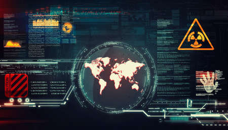 Futuristic interface of the world map . Virus attack information and data . Global problem statistics.