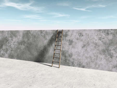 Ladder over a concrete wall . Overcome obstacles concept. Zdjęcie Seryjne