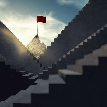 Stairways leading to a mountain peak with a red flag on top . The concept of achieving dreams. Archivio Fotografico