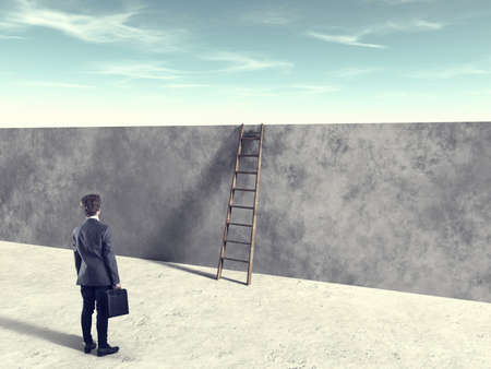Businessman in front of ladder over a wall . Overcome obstacles and problems concept.