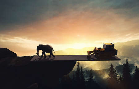 Elehpant on balance with a bulldozer above the jungle . Global warming concept . Realise effects of land clearing . This is a 3d render illustration
