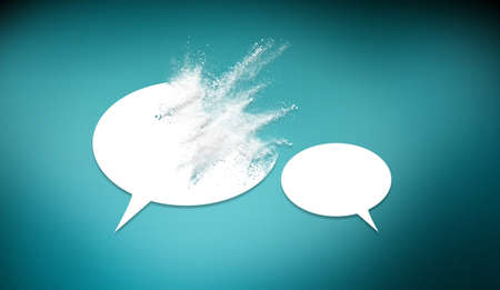 Speech bubbles icon symbold crashing . Social opinion problems and diplomacy debating. Aggresive dialogue . Controversy dialogue concept .